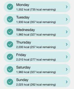 Week 4 Calorie In-take Screenshot
