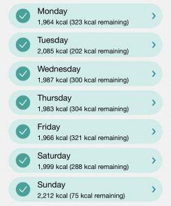 Week 5 Calorie In-take Screenshot