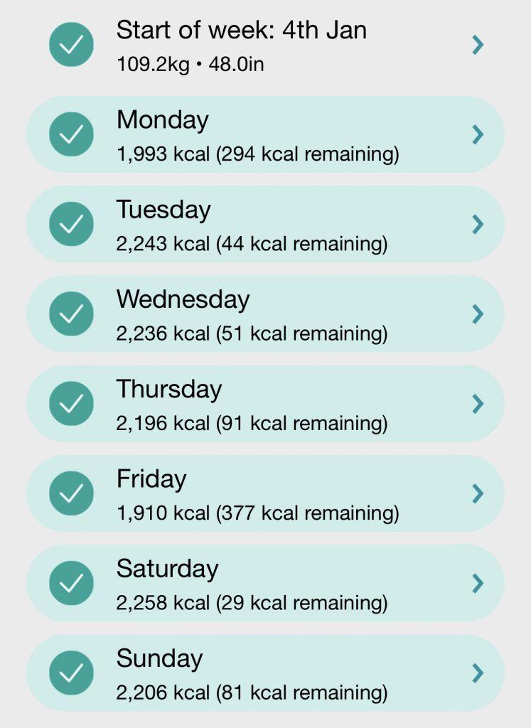 Week 3 Calorie Tracker Results